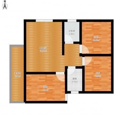 水岸东城3室1厅1卫1厨103.00㎡户型图