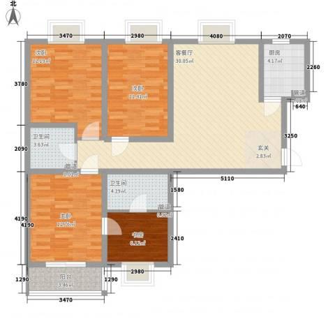 海�印象城4室1厅2卫1厨127.00㎡户型图