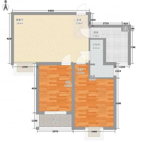 海�印象城2室1厅1卫1厨89.00㎡户型图
