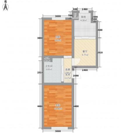万龙名城2室1厅1卫1厨59.00㎡户型图