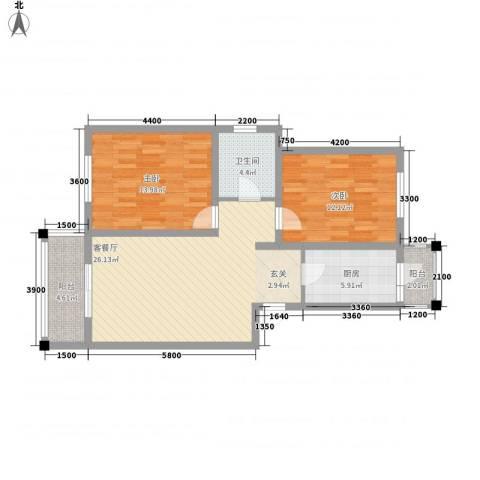 新兴骏景园2室1厅1卫1厨99.00㎡户型图
