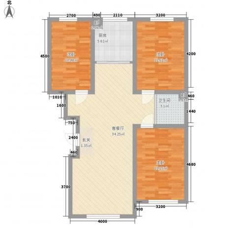 万龙名城3室1厅1卫1厨105.00㎡户型图