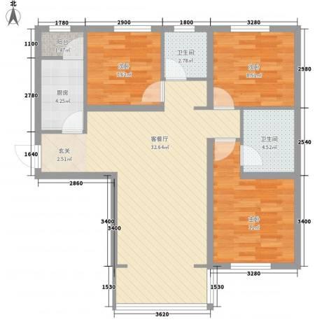 华夏奥韵3室1厅2卫1厨87.00㎡户型图