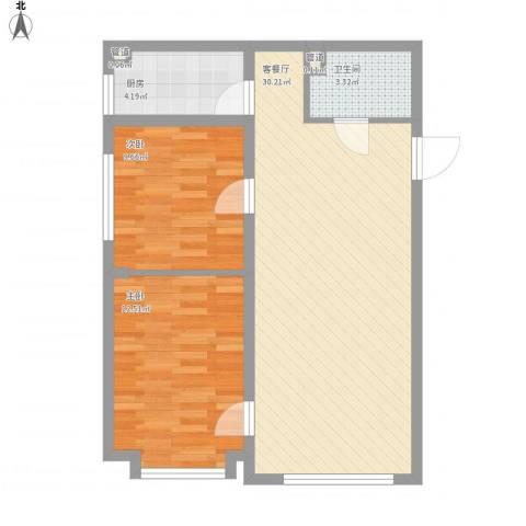 远洋广场2室1厅1卫1厨85.00㎡户型图