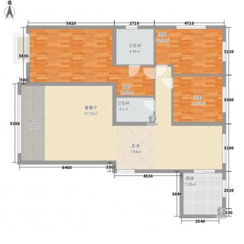 盟科视界3室1厅2卫1厨123.47㎡户型图