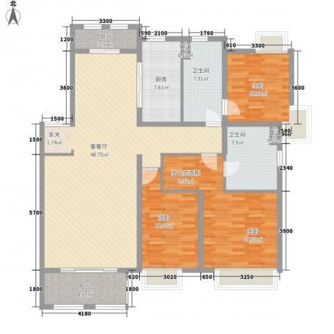 紫御府3室1厅2卫1厨121.12㎡户型图