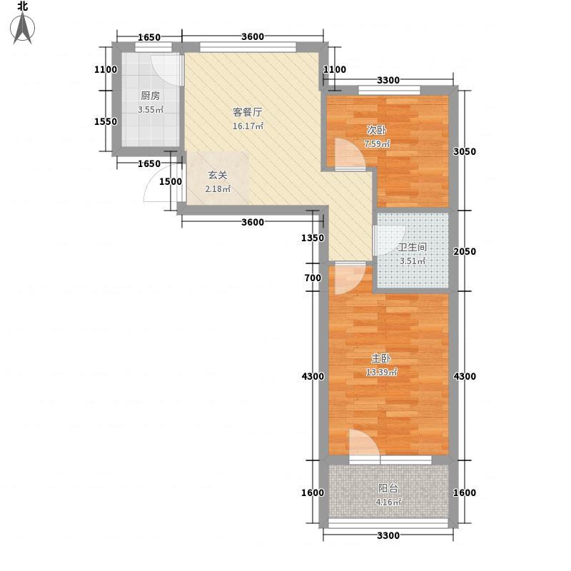 港湾观海75.17㎡港湾观海户型图5、6号楼X3户型2室1厅1卫1厨户型2室1厅1卫1厨