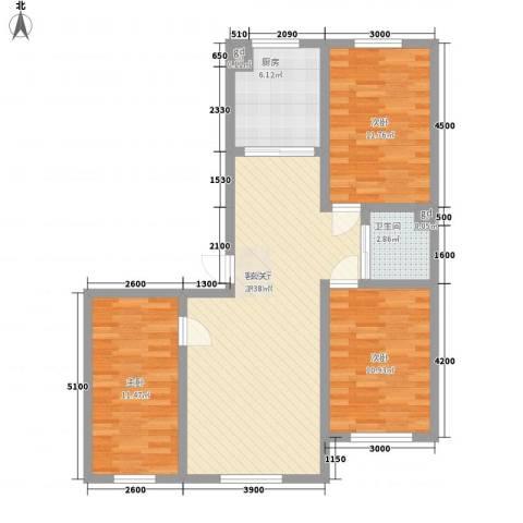 万龙名城3室1厅1卫1厨95.00㎡户型图