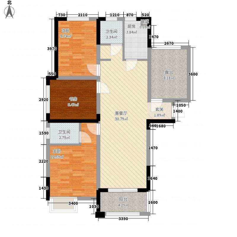 水岸豪庭121.60㎡A3户型3室2厅2卫1厨