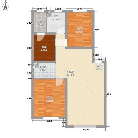 万龙名城3室1厅1卫1厨98.00㎡户型图