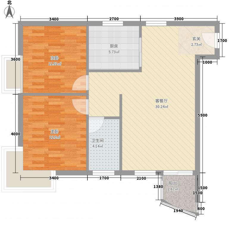昌旭・�苑5.22㎡一二单元05、08号房户型2室2厅1卫1厨