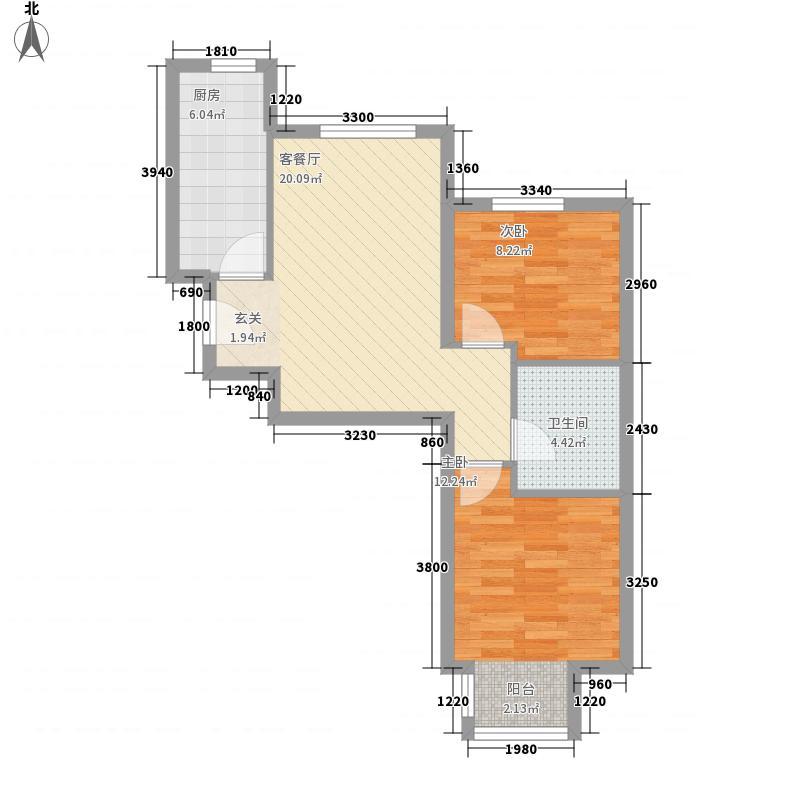 远洋润园74.00㎡D户型2室1厅1卫1厨