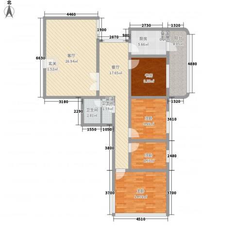 滨河小区4室2厅2卫1厨120.08㎡户型图