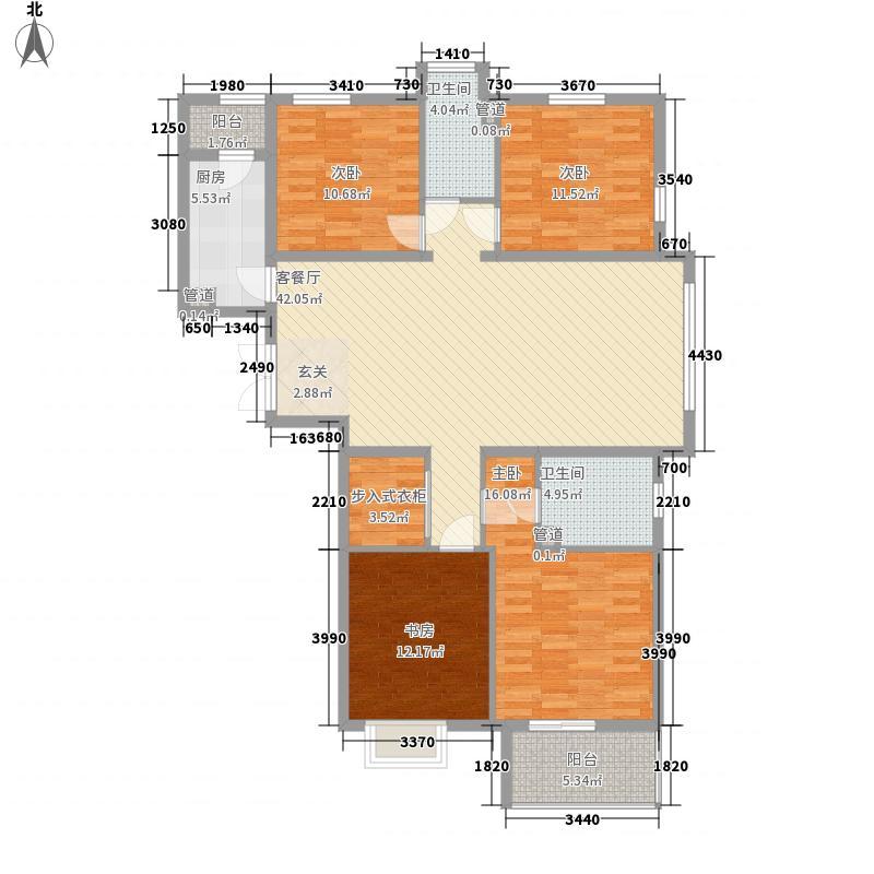 北湖中央公园166.30㎡A2户型4室2厅2卫1厨