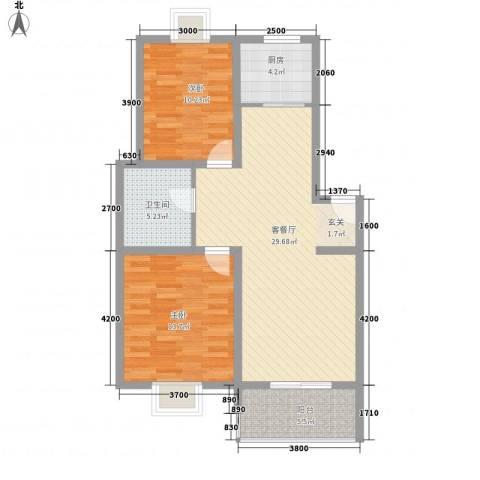 铁路二村2室1厅1卫1厨68.55㎡户型图