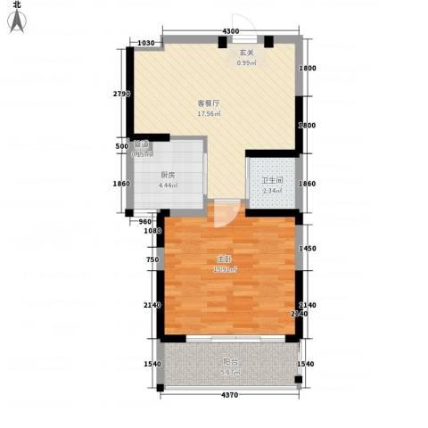 新都会花园二期1室1厅1卫1厨66.00㎡户型图
