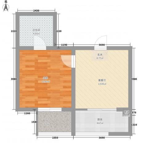 锡春华庭1室1厅1卫1厨55.00㎡户型图