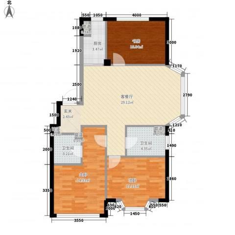 颐莲家园3室1厅2卫1厨113.00㎡户型图