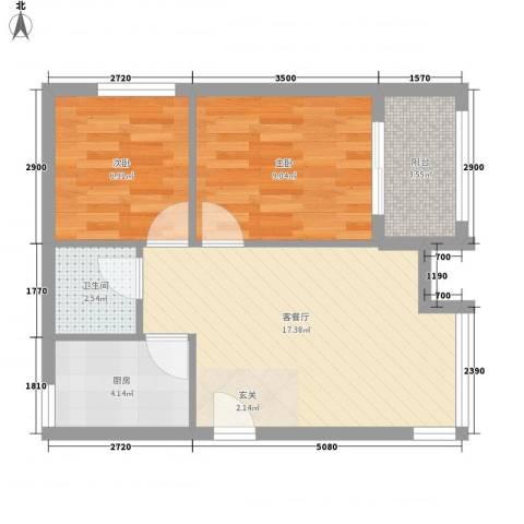 罗马花园2室1厅1卫1厨62.00㎡户型图