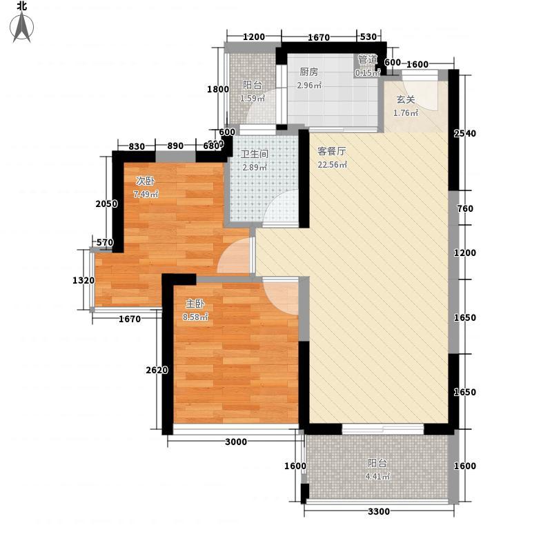 坤祥花语岸户型图4栋02户型 2室2厅1卫1厨