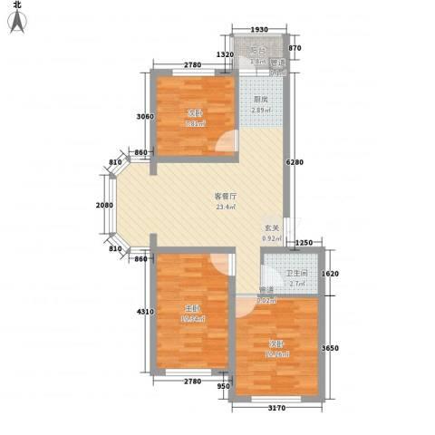 林海华庭3室1厅1卫0厨81.00㎡户型图