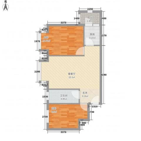 罗马花园2室1厅1卫1厨81.00㎡户型图