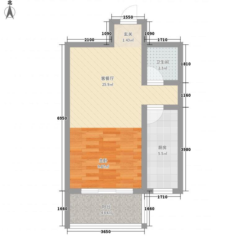 丽都嘉园55.78㎡1#2#A2户型1室1厅1卫1厨