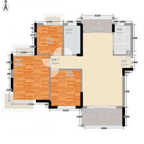 鸿源尚品3室1厅1卫1厨115.00㎡户型图