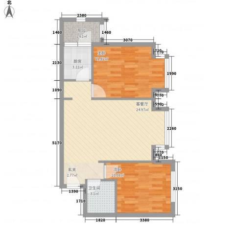 罗马花园2室1厅1卫1厨79.00㎡户型图