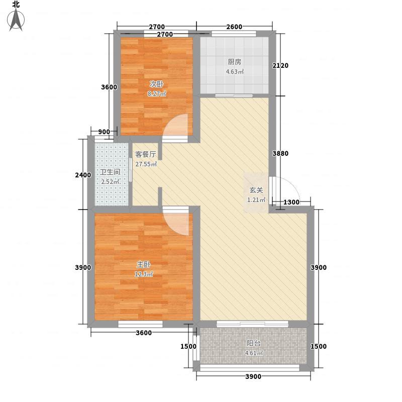 奇瑞bobo城75.00㎡奇瑞BOBO城三期多层F#5区D7户型2室2厅1卫1厨