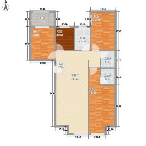 罗马花园4室1厅2卫1厨140.00㎡户型图