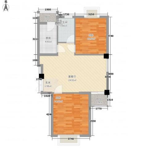 中凯城市之光2室1厅1卫1厨87.00㎡户型图