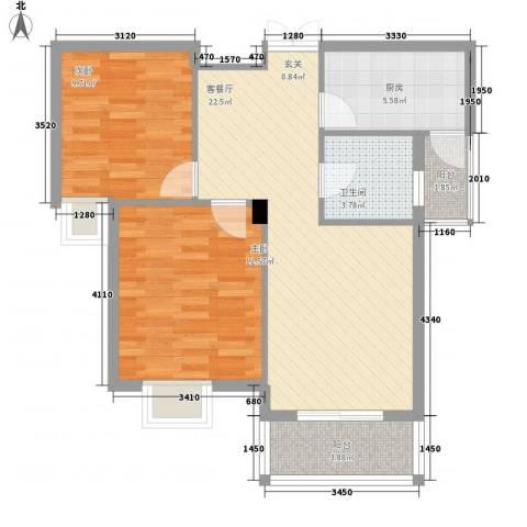御景龙湾2室1厅1卫1厨85.00㎡户型图