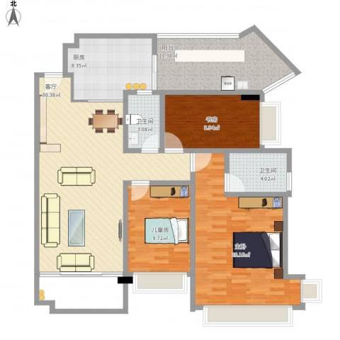 凯茵新城3室1厅2卫1厨135.00㎡户型图