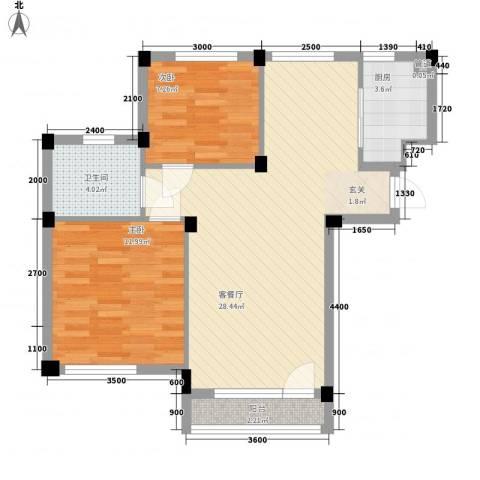 长城都市阳光2室1厅1卫1厨75.00㎡户型图