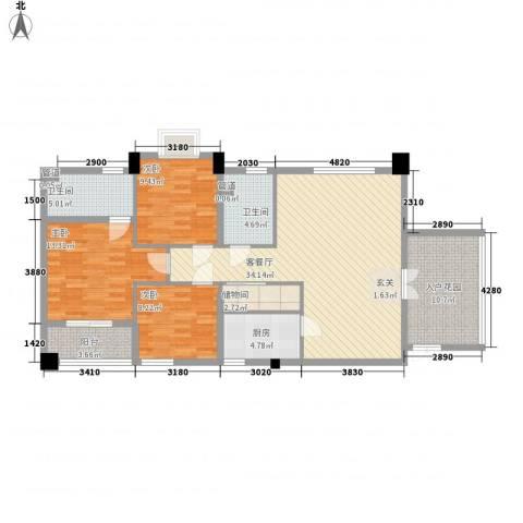 中凯城市之光3室1厅2卫1厨138.00㎡户型图