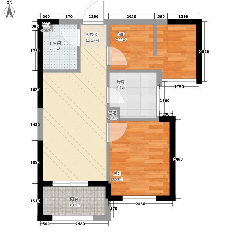 杉林悦榕公馆62.00㎡2#E户型2室2厅1卫1厨