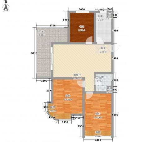 海上纳缇3室1厅1卫1厨124.00㎡户型图