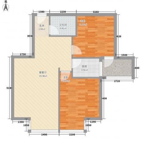 罗马花园2室1厅1卫1厨90.00㎡户型图