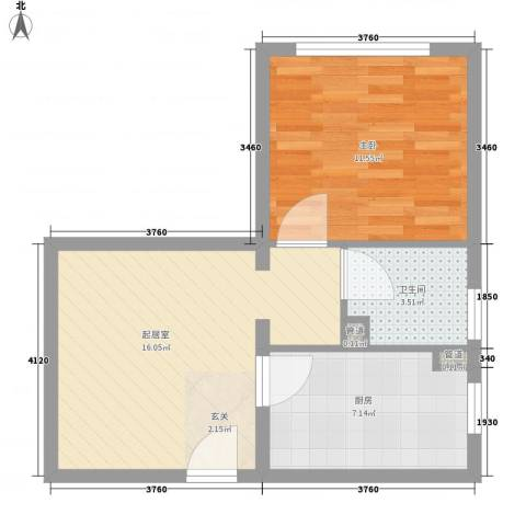 吉利家园1室0厅1卫1厨55.00㎡户型图