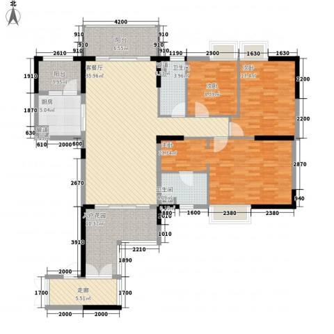 荔园悦享星醍3室1厅2卫1厨121.06㎡户型图