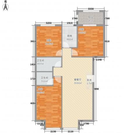 罗马花园3室1厅2卫1厨125.00㎡户型图