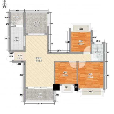 晶蓝上城3室1厅1卫1厨101.00㎡户型图