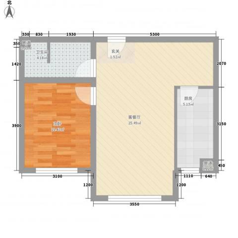 世纪新城1室1厅1卫1厨85.00㎡户型图