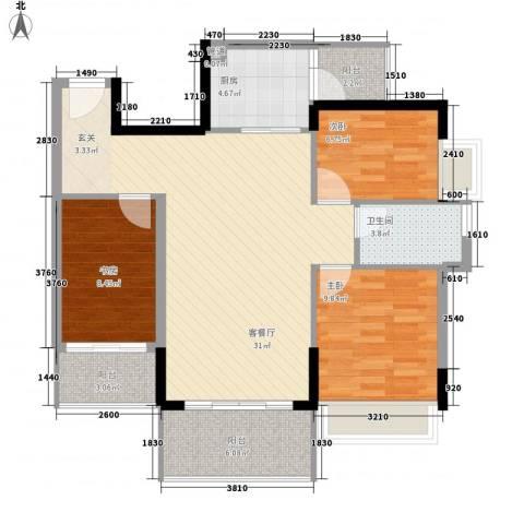 忠信春满园3室1厅1卫1厨75.94㎡户型图