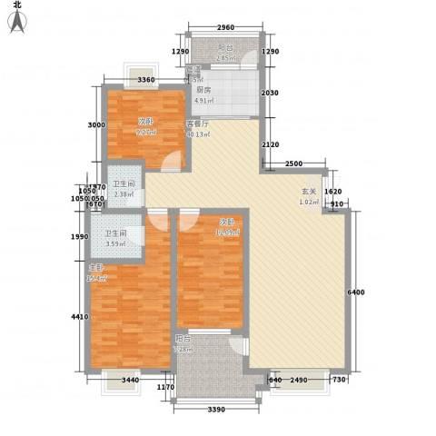 名城・运河佳园3室1厅2卫1厨141.00㎡户型图