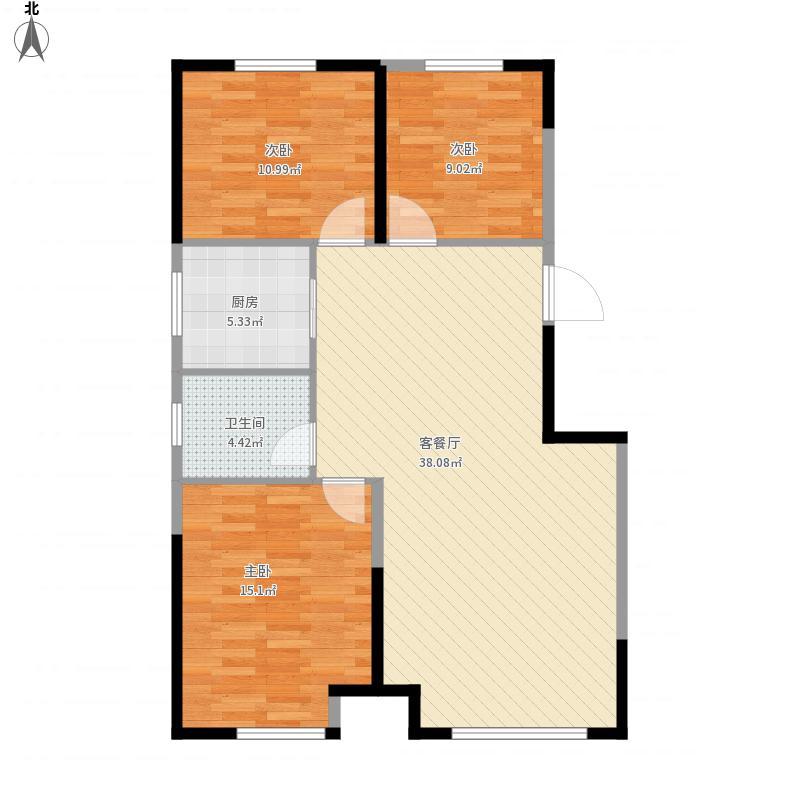 中海城B1边户3室2厅1卫1厨面积104㎡