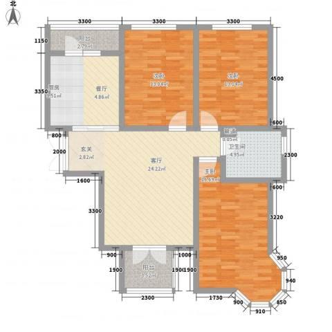 利通花园3室1厅1卫1厨127.00㎡户型图