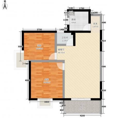 新兴骏景园2室1厅1卫1厨98.00㎡户型图
