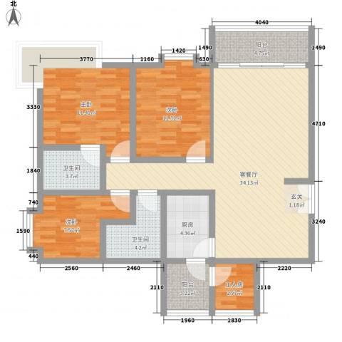 健逸天地二期3室1厅2卫1厨127.00㎡户型图